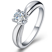 Classical diamond engagement ring in 14K White Gold with a 0.3 Carat Diamond