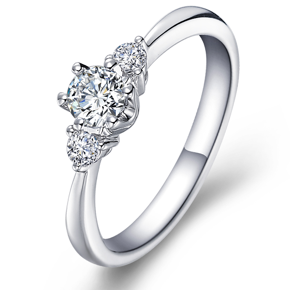 Elegant diamond engagement ring with sidestones in 14K White Gold with a 0.3 Carat Diamond