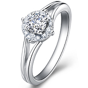 Halo diamond engagement ring in 14K White Gold with a 0.3 Carat Diamond