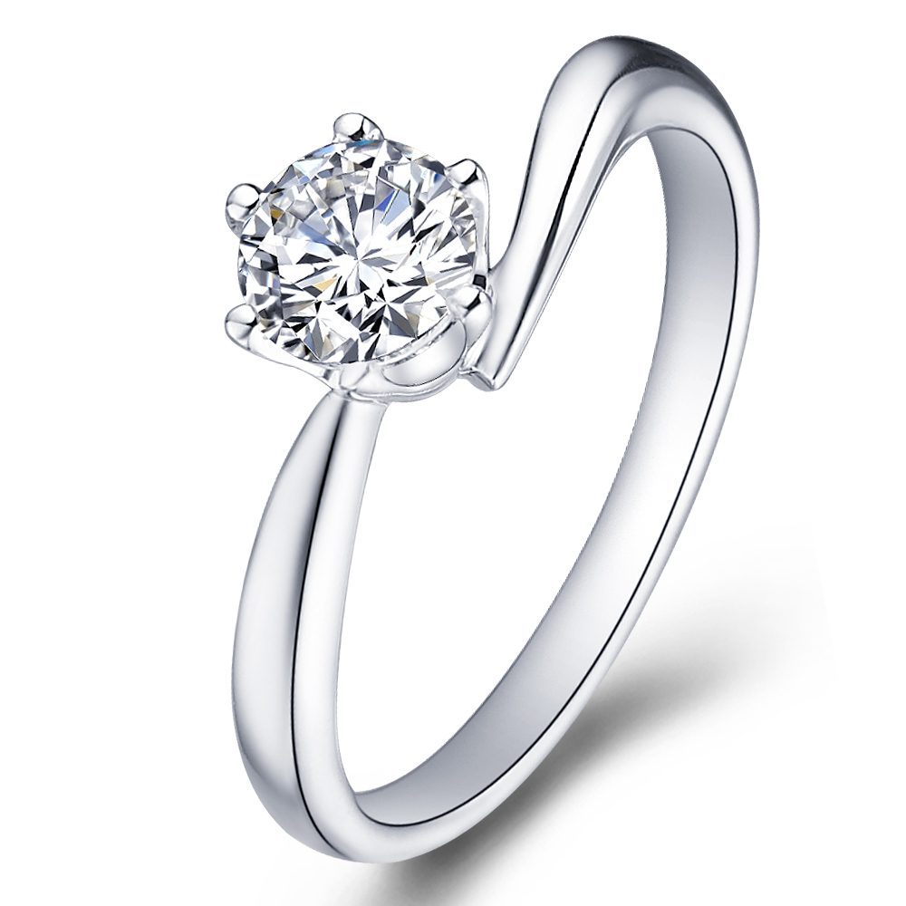 Classical diamond engagement ring in 14K White Gold with a 0.5 Carat Diamond