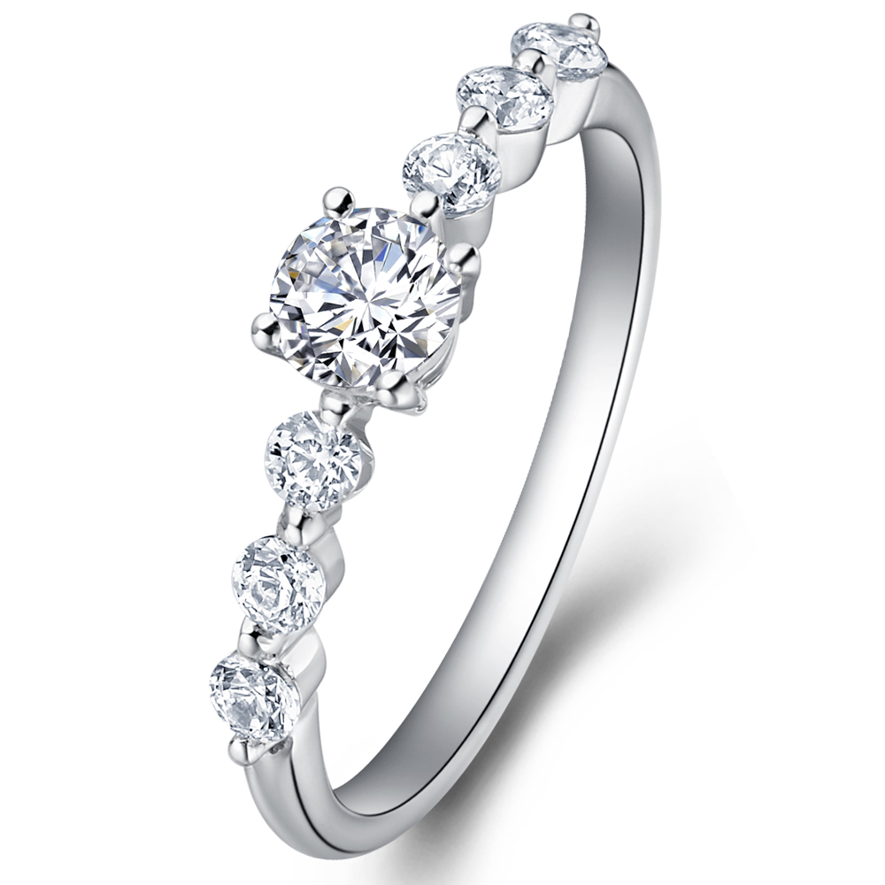 Diamond engagement ring with sidestones in 14K White Gold with a 0.3 Carat Diamond