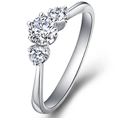 Engagement ring with sidestones in 14K White Gold with a 0.5 Carat Diamond