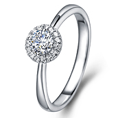 Halo diamond engagement ring in 14K White Gold with a 0.5 Carat Diamond
