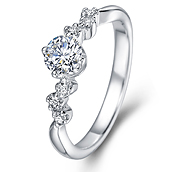 Diamond engagement ring with sidestones in 14K White Gold with a 0.5 Carat Diamond