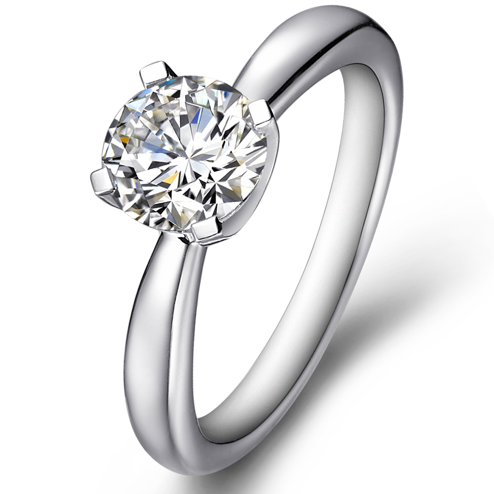 Four-claw classical engagement diamond ring in 14K White Gold with a 0.3 Carat Diamond
