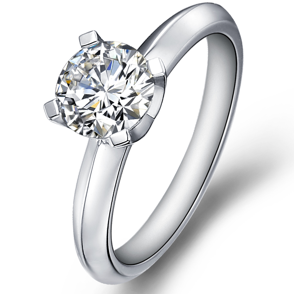 Classical engagement ring with round diamond in 14K White Gold with a 0.3 Carat Diamond