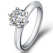 Classical diamond engagement ring in 18K White Gold with a 0.75 Carat Diamond