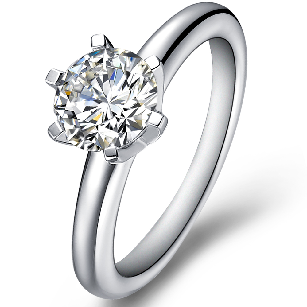 Classical diamond engagement ring with round cut brilliant in 14K White Gold with a 0.5 Carat Diamond