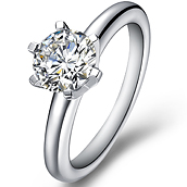 Classical diamond engagement ring with round cut brilliant in 14K White Gold with a 0.3 Carat Diamond