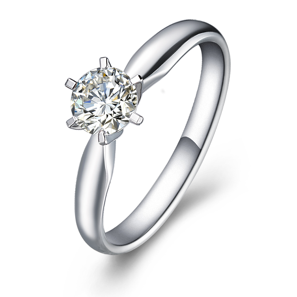 Classical six-claw solitaire engagement ring in 18K White Gold with a 0.75 Carat Diamond