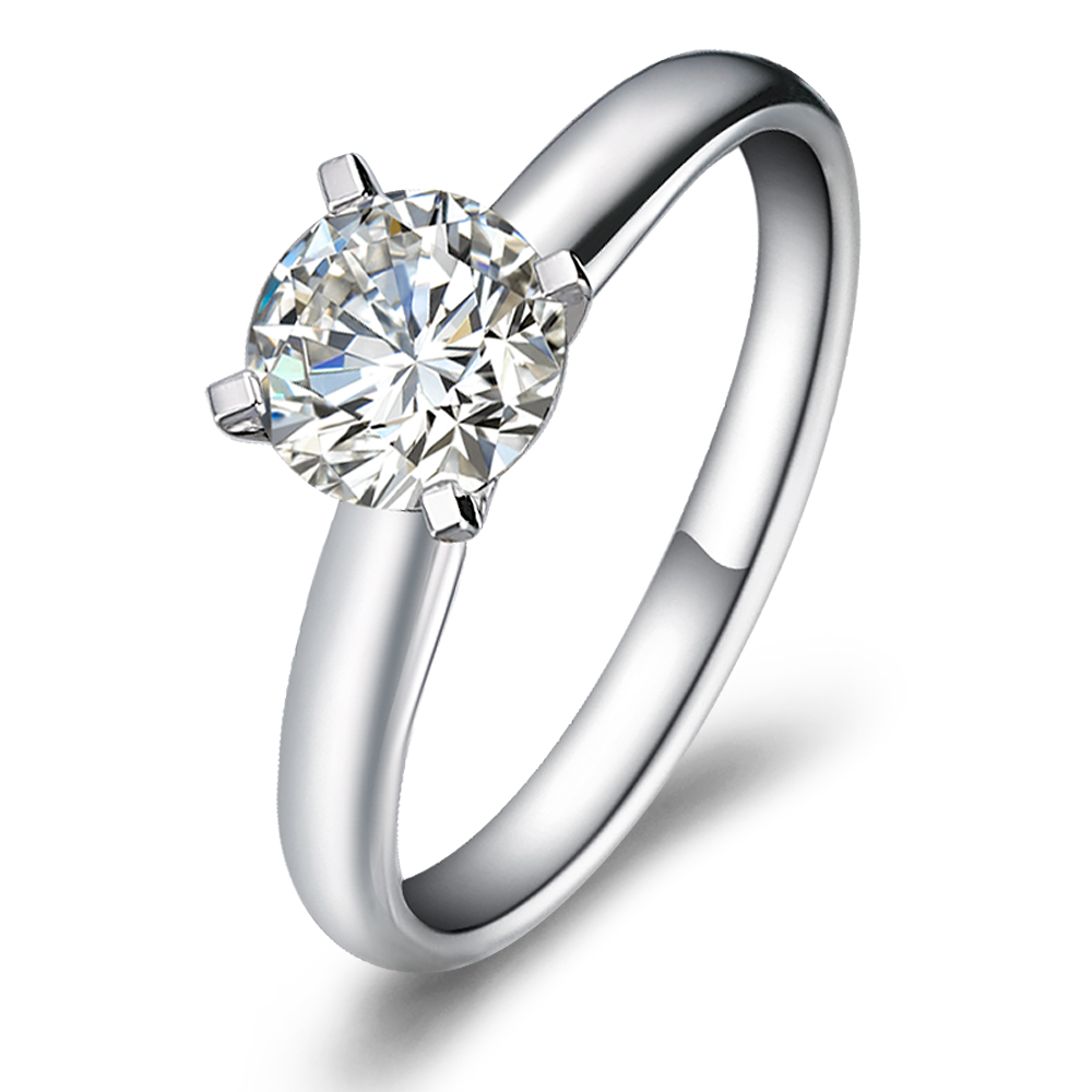 Diamond engagement ring in 18K White Gold with a 0.75 Carat Diamond
