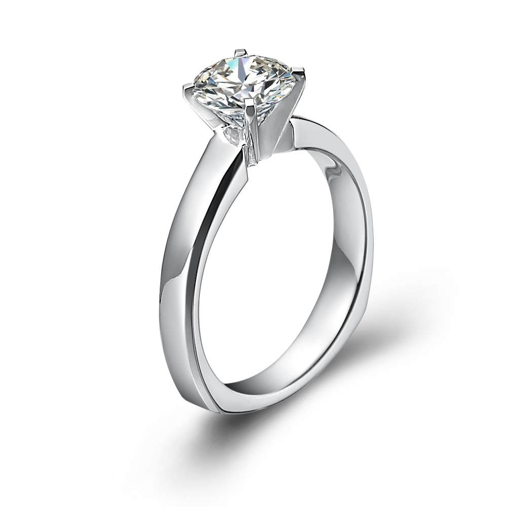 Classical engagement ring with round diamond in 18K White Gold with a 1 Carat Diamond