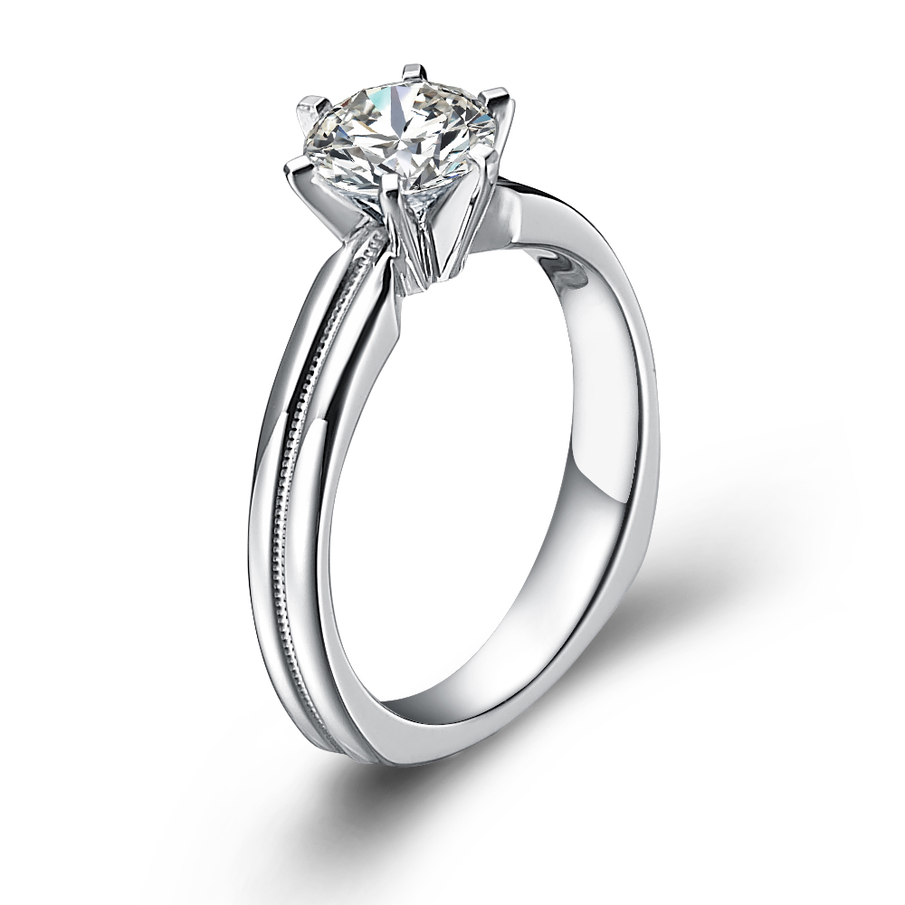 Classical diamond engagement ring with round diamond in 18K White Gold with a 0.75 Carat Diamond