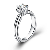 Classical diamond engagement ring with round diamond in 14K White Gold with a 0.5 Carat Diamond