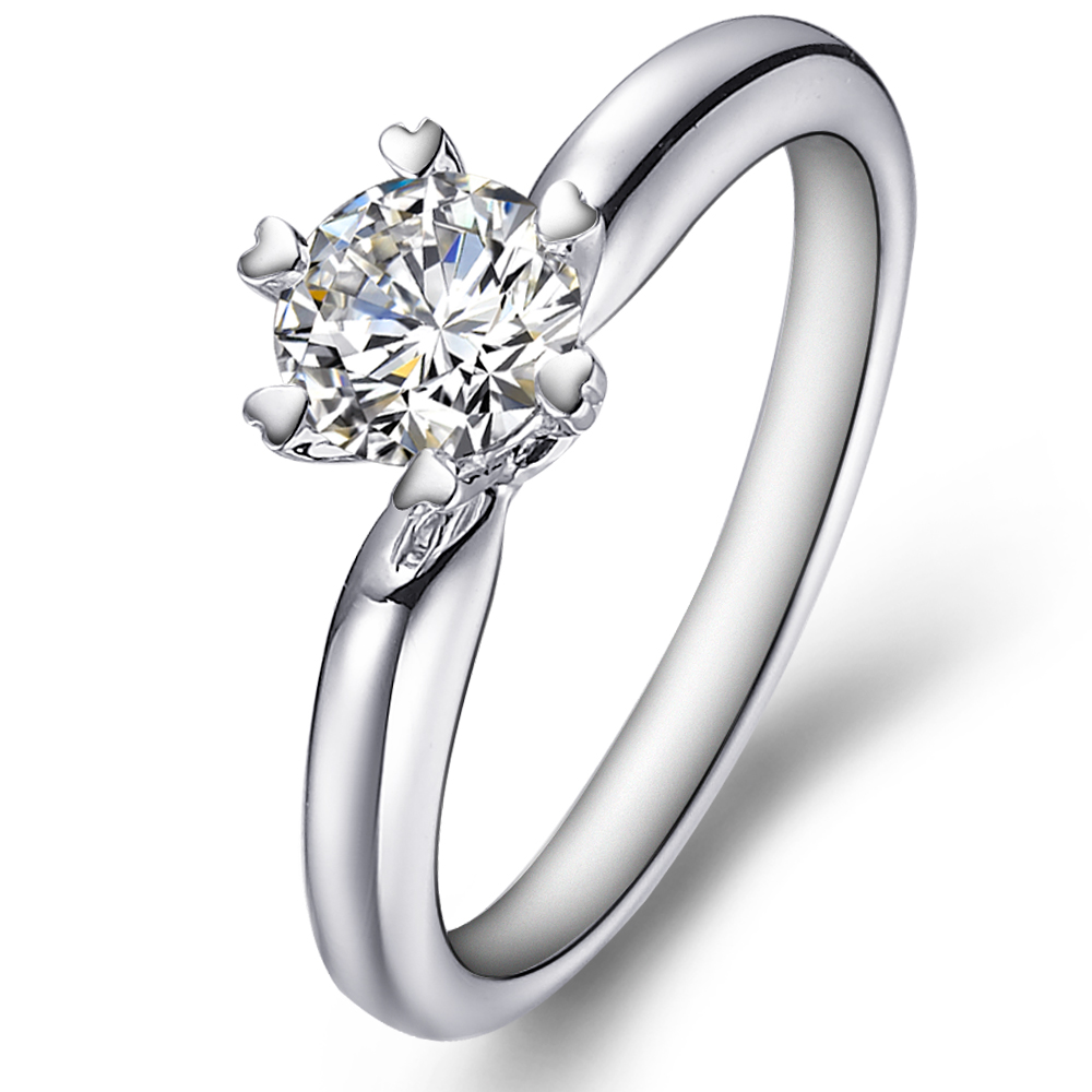 Classical solitaire engagement ring in 14K White Gold with a 0.3 Carat Diamond