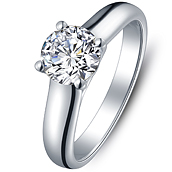 Elegance diamond enagement ring in 18K White Gold with a 1 Carat Diamond