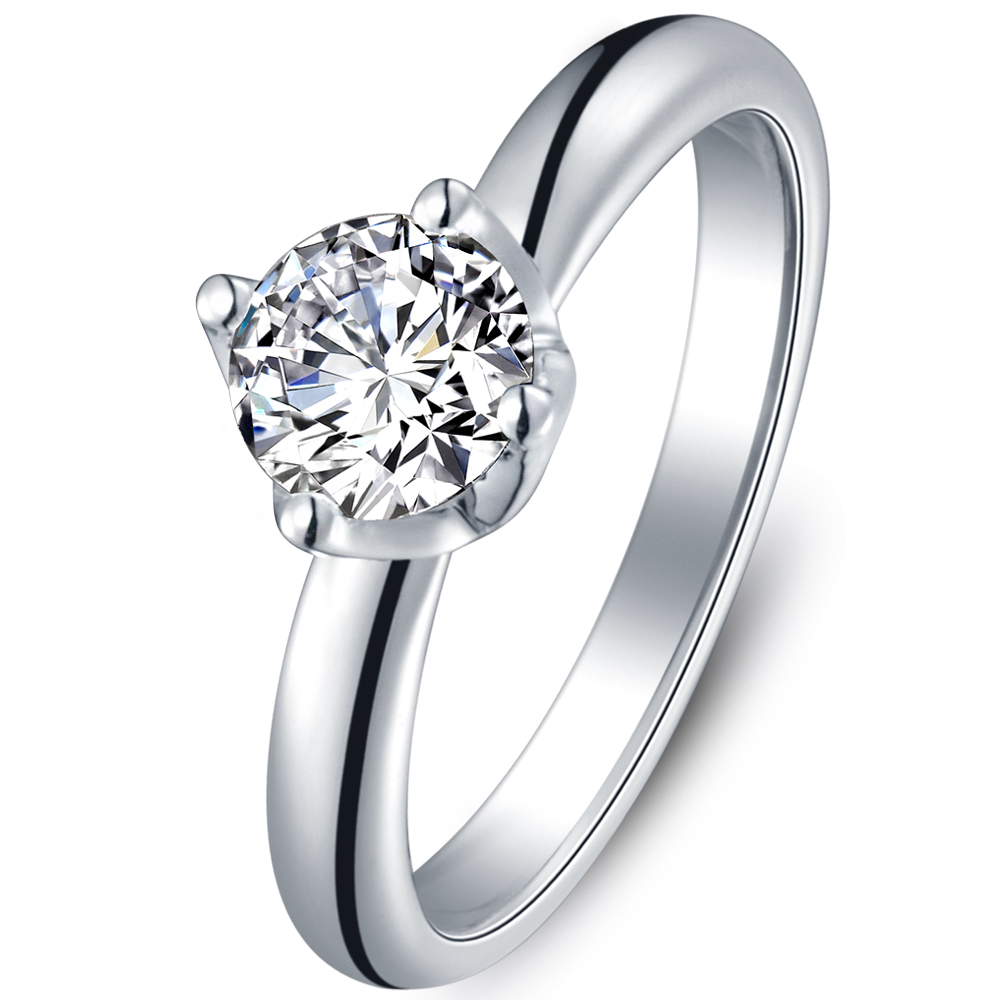 Classical diamond solitaire engagement ring in 14K White Gold with a 0.5 Carat Diamond