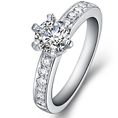 Diamond engagement ring vintage style in 14K White Gold with a 0.4 Carat Diamond