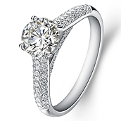 Vintage engagement ring in 14K White Gold with a 0.5 Carat Diamond