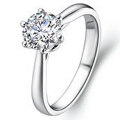 Classical solitaire diamond engagement ring in 18K White Gold with a 1 Carat Diamond
