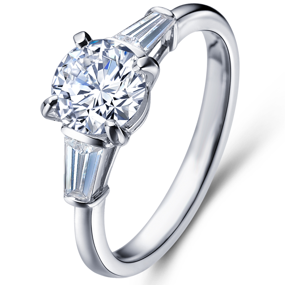 Diamond engagement ring with sidestones in 18K White Gold with a 1 Carat Diamond