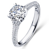 Vintage engagement ring in 18K White Gold with a 0.75 Carat Diamond
