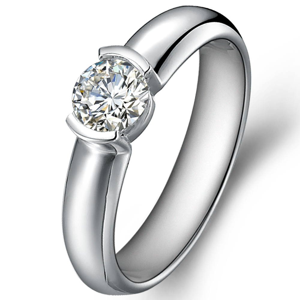 Classical diamond engagement ring in 14K White Gold with a 0.4 Carat Diamond