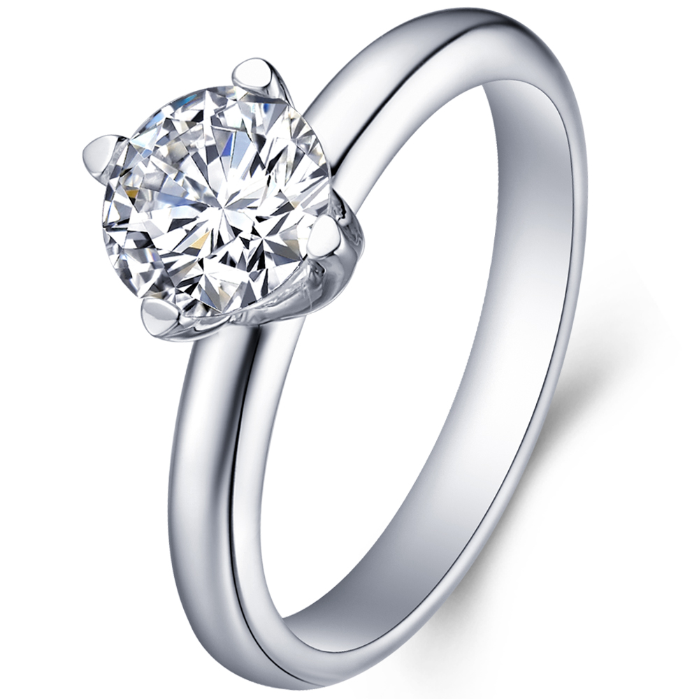 Classical diamond engagement ring in 18K White Gold with a 1 Carat Diamond