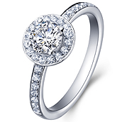Halo engagement ring in 14K White Gold with a 0.5 Carat Diamond