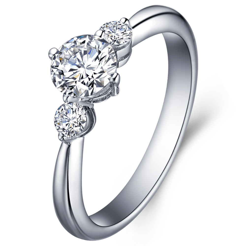 Elegance 3-stones diamond engagement ring in 14K White Gold with a 0.4 Carat Diamond