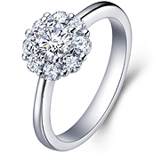 Halo diamond ring in 18K White Gold with a 1 Carat Diamond