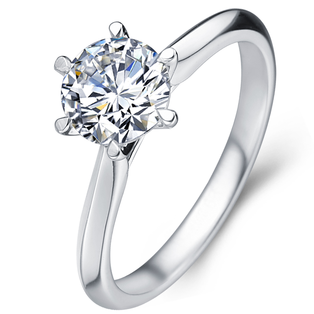 Classical six-claw diamond enagegement ring in 18K White Gold with a 0.75 Carat Diamond