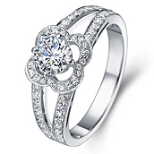 Halo diamond engagement ring in 18K White Gold with a 1 Carat Diamond