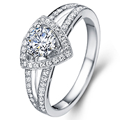 Halo diamond engagement ring in 14K White Gold with a 0.4 Carat Diamond