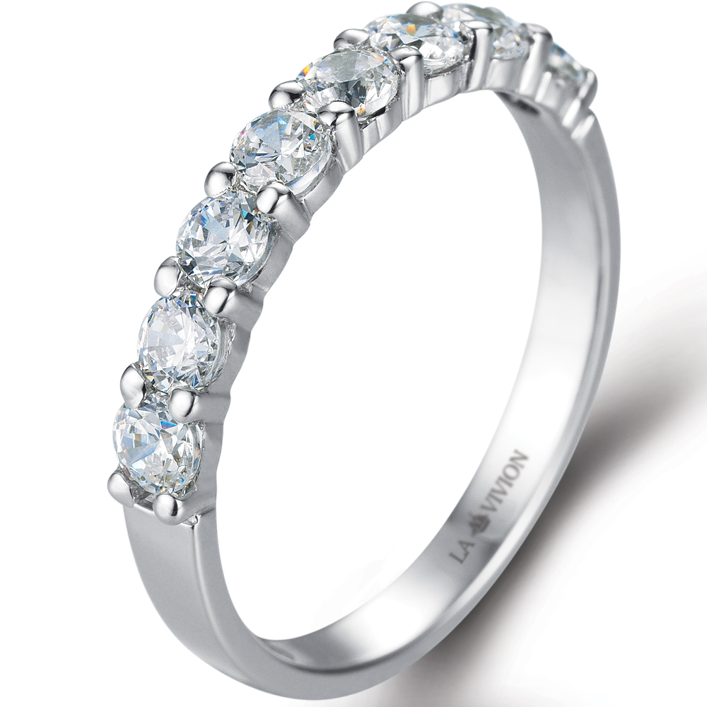 1/3 Eternity Ring in 18k white gold  with 0.36 ct. of Diamonds