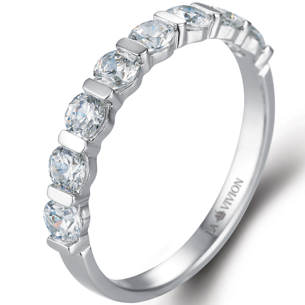 1/2 Eternity in 18k white gold  with 0.8 ct. of Diamonds