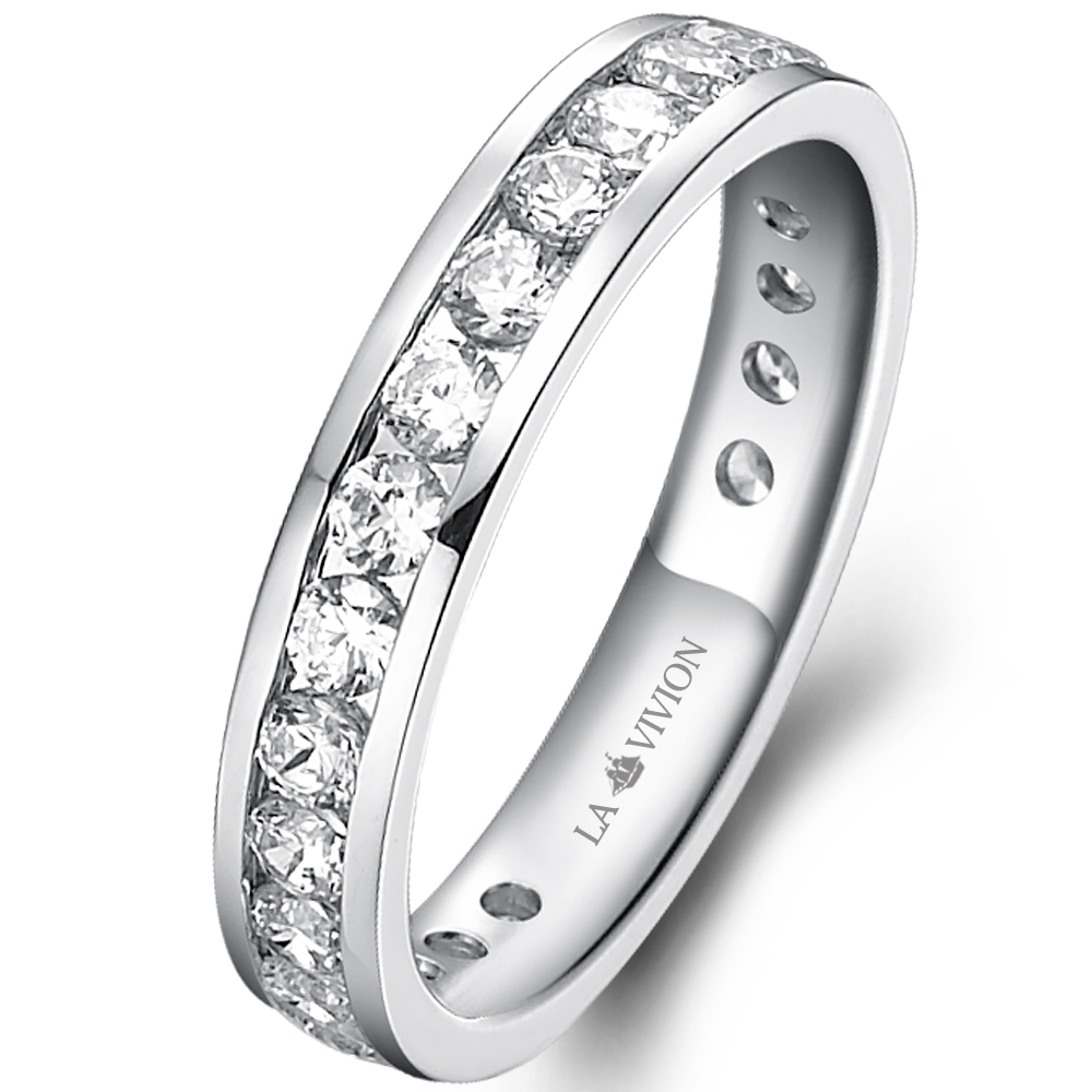 Channel Eternity Ring in 18k white gold  with 1.3 ct. of Diamonds