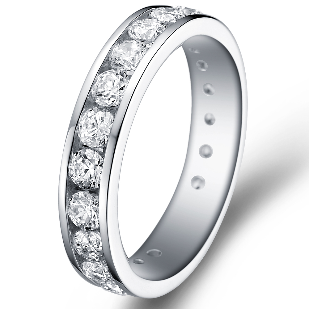Channel Set Eternity Ring in 18k white gold  with 1.8 ct. of Diamonds