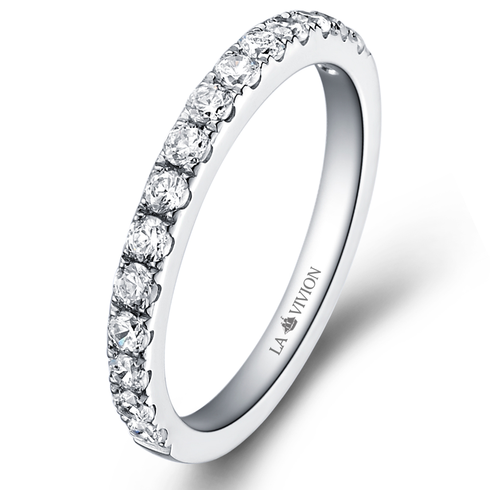 1/2 Pavé Eternity Ring in 18k white gold  with 0.6 ct. of Diamonds