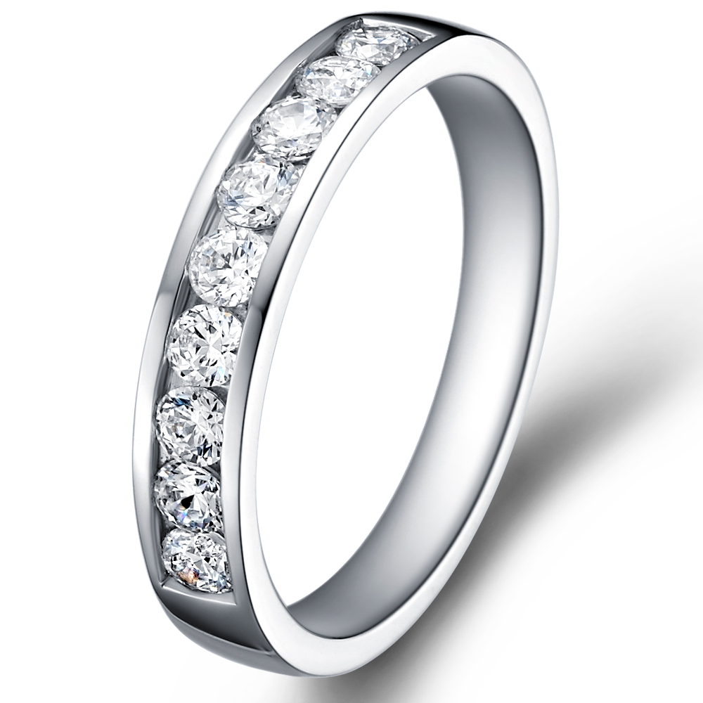 1/3 Eternity Ring in 18k white gold  with 0.8 ct. of Diamonds