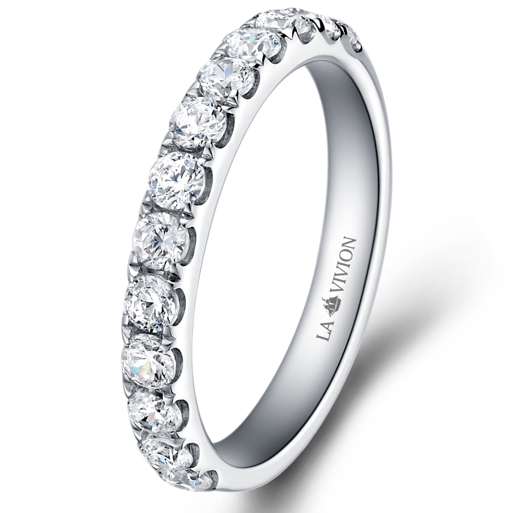 Pavé 1/2 Eternity in 18k white gold  with 0.9 ct. of Diamonds