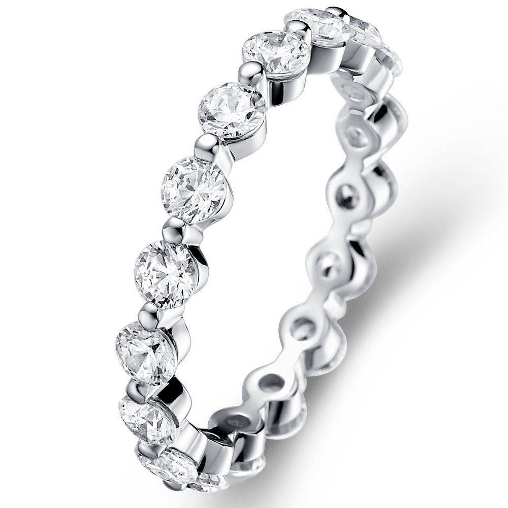 Eternity Ring in 14k white gold with 1.28 ct. of Diamonds