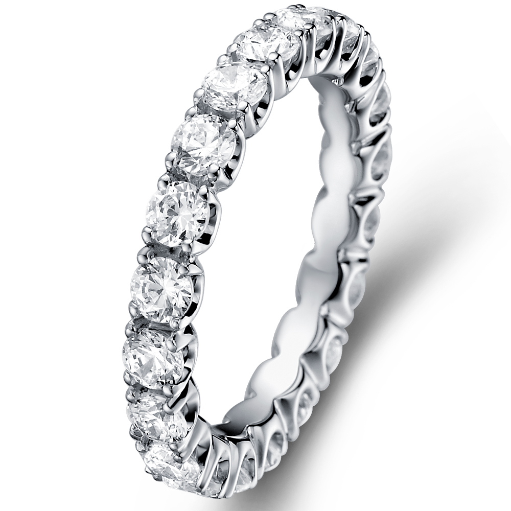 Amazing Eternity Ring in 14k white gold with 1.52 ct. of Diamonds