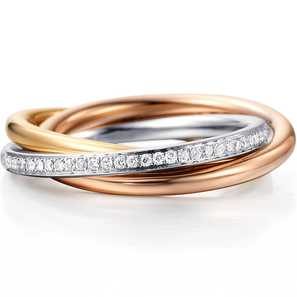 The Trinity in 18k yellow gold with 0.32 ct. of Diamonds