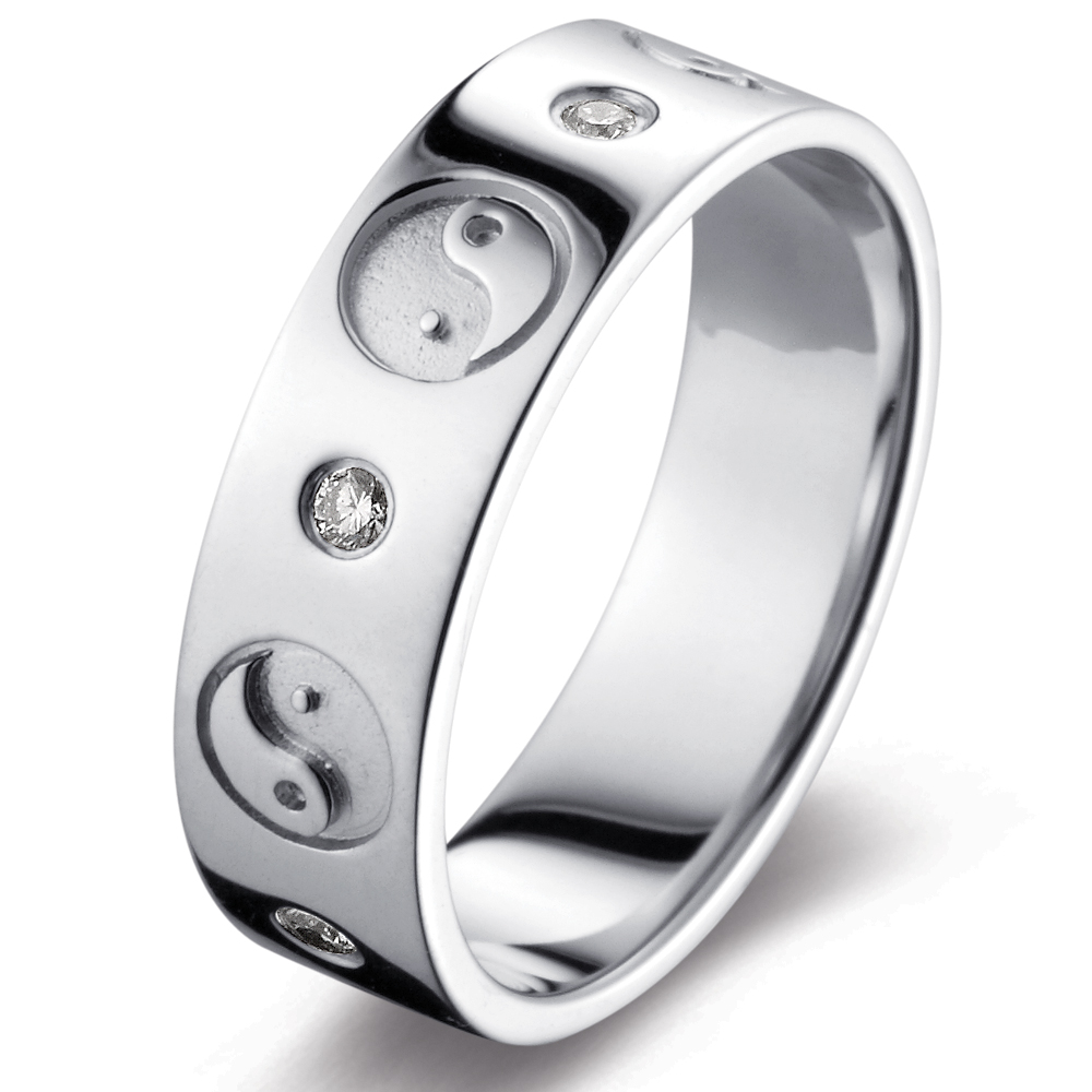 Yin Yang in 14k white gold