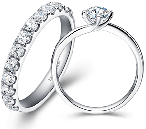 Eternity ring in Platinum and Promise ring in 14k white gold by LaVivion