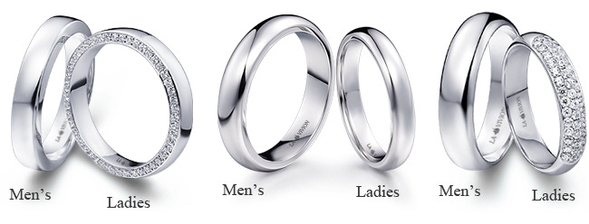 Matching wedding rings for bride and groom by La Vivion
